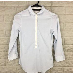 Zara Basic Top XS Striped Collared Button Down